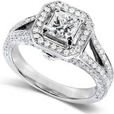 Ice 1 1/3 CT TW Diamond Polished and Milgrain 14K White Gold Engagement Ring