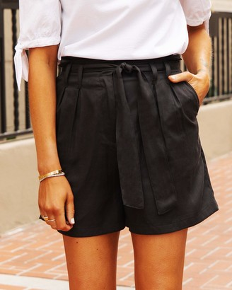 The Drop Women's Black Paperbag-Waist Belted Short by @fashion_jackson S