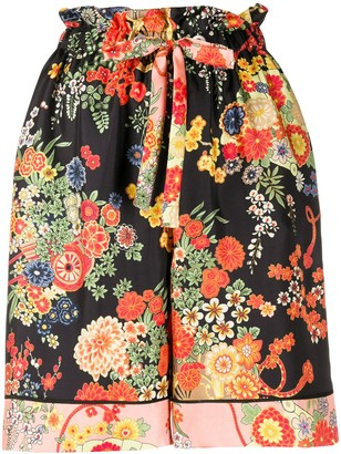 Palm Angels Blooming pajama-style shorts