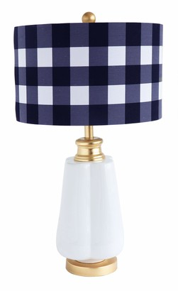Creative Co-op Ceramic Gingham Linen Shade Table Lamps