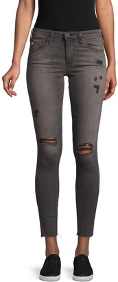 AG Jeans Super-Skinny Distressed Ankle Jeans