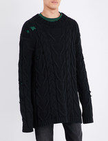 Palm Angels Oversized cotton-blend fisherman jumper