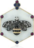Artisan Honey Bee Diamond Pendant 18Kt Gold Ruby Sapphire Gemstone Jewelry