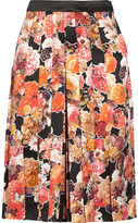 Givenchy Floral-print Silk-satin Culottes - Orange