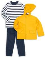 Little Me Little Boy's Three-Piece Hooded Jacket, Striped Cotton Top and Cotton Twill Pants Set