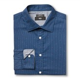 Mossimo Men's M Slim Fit Dress Shirt Blue