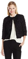 Vince Camuto Women's Shaggy Clip Square Kiss Front Jacket