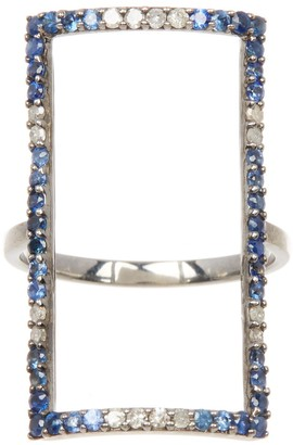 Adornia Fine Sterling Silver Ombre Sapphire Rectangle Frame Ring