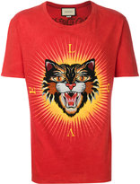 Gucci angry cat appliqué T-shirt - men - Cotton/Polyester - S