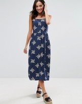 Warehouse Floral Swirl Print Midi Dress