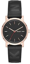 DKNY Women's 'SoHo' Quartz Stainless Steel and Leather Casual Watch, Color:Black (Model: NY2605)