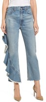 Citizens of Humanity Women's Estrella Side Ruffle High Waist Ankle Jeans