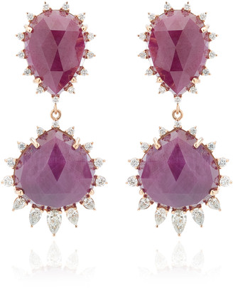 Kathryn Elyse Halo 18K Rose Gold Ruby and Diamond Earrings