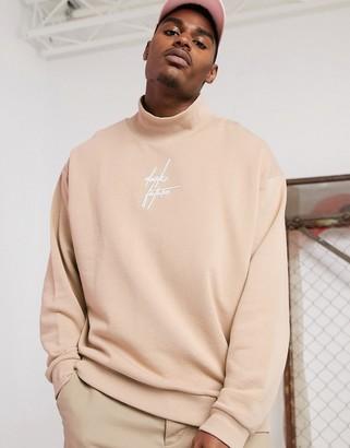 BEIGE ASOS DESIGN x Dark Future oversized funnel neck sweatshirt in with embroidered logo