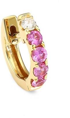Robinson Pelham Orb 14K Yellow Gold, Pink Sapphire Diamond Single Medium Huggie Earring