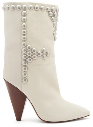 Isabel Marant Layo Studded Cone-heel Leather Calf Boots - White
