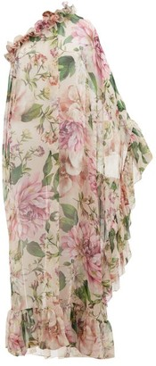 Dolce & Gabbana Tropical Floral-print Silk-chiffon Coverup Dress - Womens - Pink Print