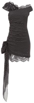 Dundas Lace-trimmed Polka-dot Silk Mini Dress - Black White