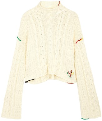 J.W.Anderson Cream cropped cable-knit jumper