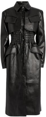 MATÉRIEL Faux Leather Ruched-Waist Coat