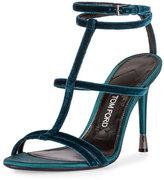 Tom Ford Velvet Cage 105mm Sandal, Pacific Blue