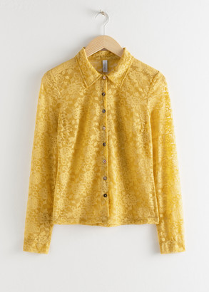 And other stories Sheer Floral Lace Blouse