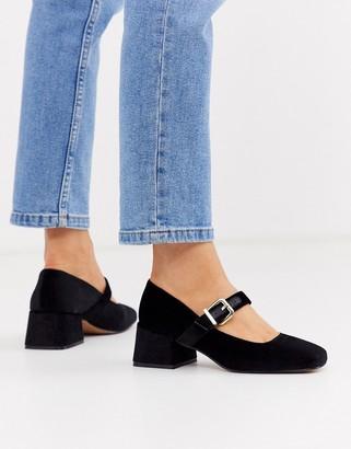 Asos Design DESIGN Space square toe mary jane mid heels in black velvet