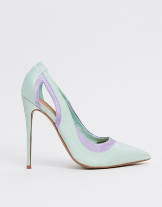 ASOS DESIGN Peaky stiletto court shoes in mint/lilac satin