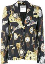 Moschino timepiece print blazer