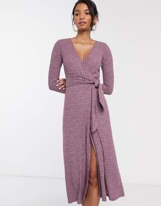 Asos Design DESIGN Long sleeve marl belted midi dress-Purple