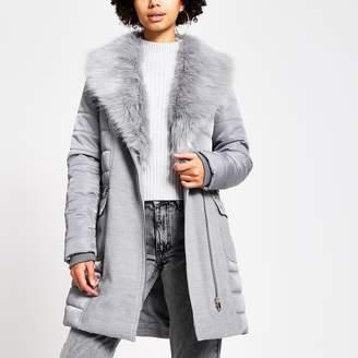 River Island Womens Grey padded longline belted jacket
