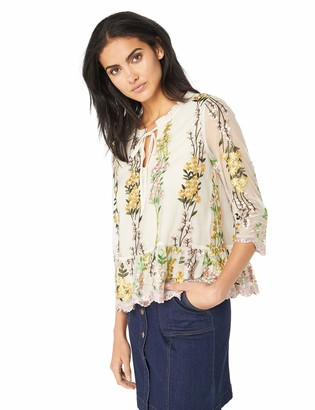 Cupcakes And Cashmere Women's Almeta Embriodered Mesh Top