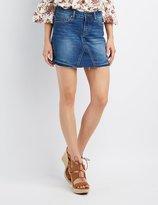 Charlotte Russe Frayed Denim Mini Skirt