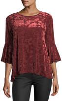 Neiman Marcus Flocked Velvet Bell-Sleeve Tunic