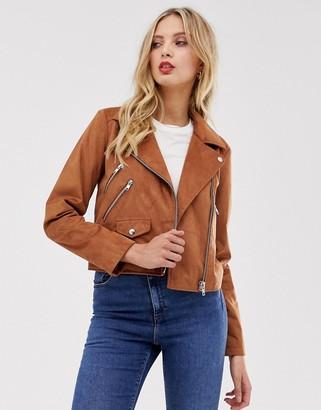 Asos Design DESIGN suedette biker jacket-Brown