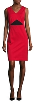 Magaschoni Blocked Ponte Seamed Sheath Dress