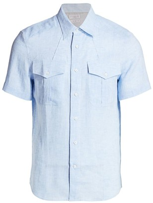 Brunello Cucinelli Short-Sleeve Linen Pocket Shirt