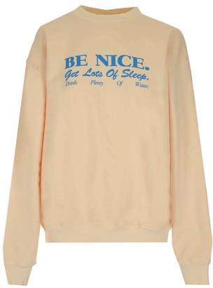 Sporty & Rich Be Nice Slogan Printed Crewneck Sweatshirt