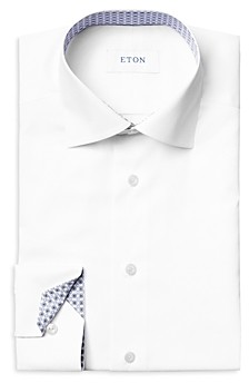 Eton Cotton Stretch Twill Geometric Contemporary Fit Dress Shirt