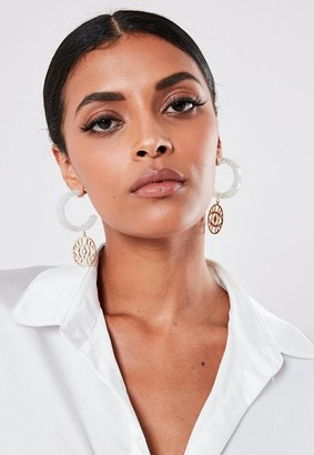 Missguided Clear Hoop Earrings With Eye Charm Detail