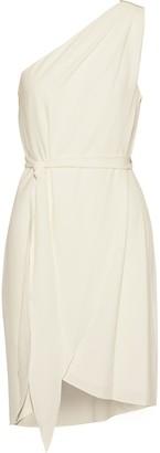 Halston One-shoulder Bead-embellished Crepe Mini Dress