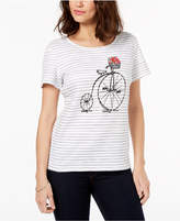 Karen Scott Embellished Cotton Graphic-Print T-Shirt, Created for Macy's