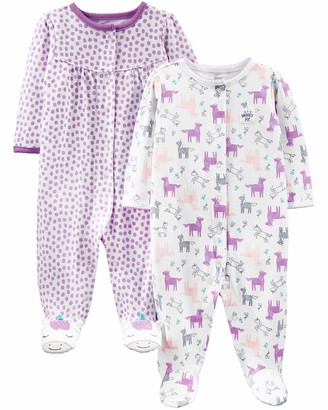 Carter's Simple Joys by 2-Pack Cotton Snap Footed Sleep and Play Baby and Toddler Sleepers