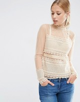 Asos Lace Top With High Neck