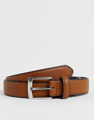 Asos Design DESIGN faux leather slim belt in tan with burnished edges