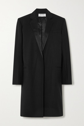 GAUCHERE Ritha Satin-trimmed Wool-blend Coat - Black