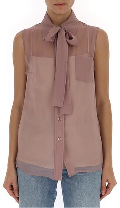 Prada Sleeveless Bow Collar Blouse