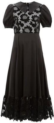 Shrimps Morpheus Lace-bodice Puff-sleeve Dress - Black