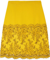 Christopher Kane Lace-trimmed wool-crepe A-line skirt