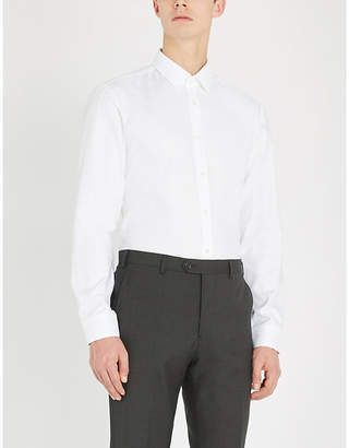 BOSS Micro check-patterned slim-fit cotton shirt